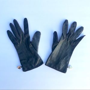 Moschino Vintage Leather Heart Gloves